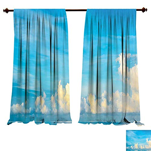 Astoria Crystal Clear (Blackout Draperies Image of Crystal Clear Sea and Bright Cloudy Sky over it in a Sunny Day Romantic Sescape Blue White Darkening Blackout Drapes for Bedroom (W72 x L72 -Inch 2 Panels))