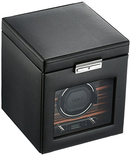 WOLF 457156 Roadster Single Watch Winder with Cover and Storage, - Faceplates Station Room
