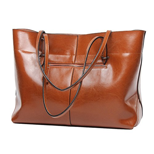 Leather Purse Tote Bag Handbag (Covelin Women's Handbag Genuine Leather Tote Shoulder Bags Soft Hot Brown)