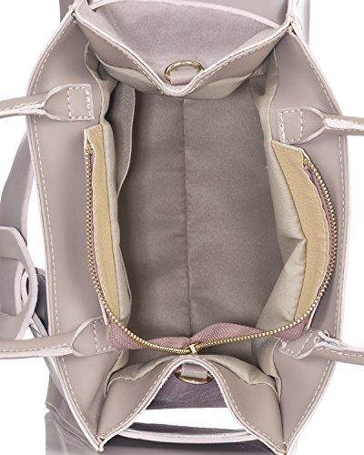 Laura Moretti - Bolso de piel auténtica con cinturón Rosa