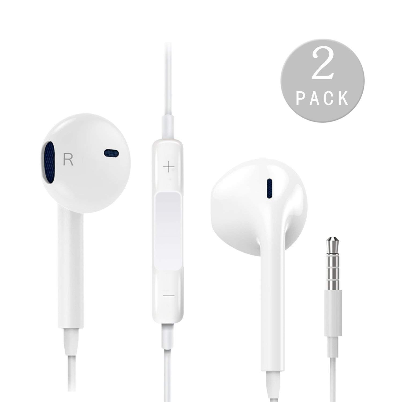 イヤホンのイヤホンヘッドフォン、2パックプレミアムノイズアイソレーションインイヤー有線ヘッドセットステレオとリモート、マイクとの互換性ipad ipod Androidスマートフォンタブレットおよびすべての3.5mmイヤホンデバイス(ホワイト) B07Q5Z884J
