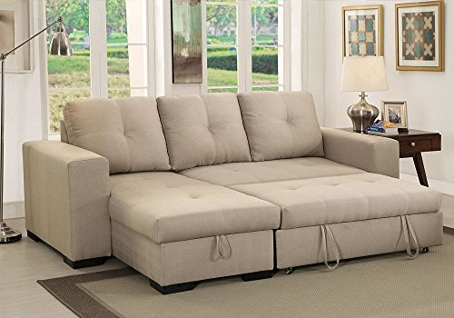 denton comfort sectional pullout sleeper futon reversible chaise storage ivory - Sleeper Sectional Sofa