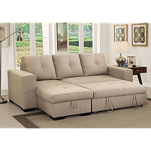 1PerfectChoice Denton Comfort Sectional Pull Out Sleeper Futon Reversible  Chaise Storage Ivory