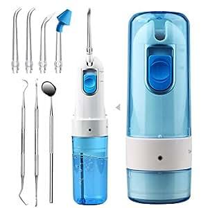 ACTOPP Irrigador Dental Eléctrico Irrigador Bucal Portátil Irrigador Oral IPX7 Impermeable Limpiador bucal Plegable Water Flosser Recargable 2 Modos 5 Boquillas para Limpieza y Cuidado Dental