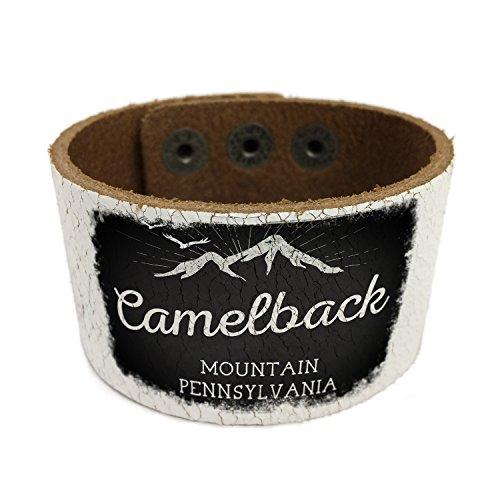 NEONBLOND Mountains chalkboard Camelback Mountain - Pennsylvania Leather Cuff unisex Women, Men's Bangle Bracelet (Camelback Leather)