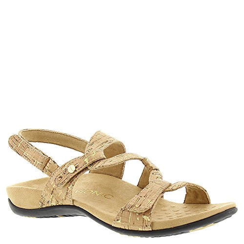 (Vionic Women's Rest Paros Backstrap Sandal Gold Cork)