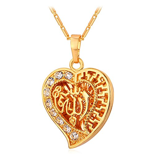 (U7 Rhinestone Heart Allah Necklace Women Gift 18K Gold Plated Flat Link Chain 22
