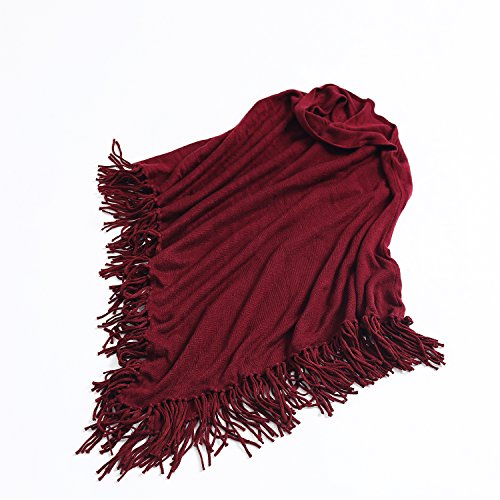 Joulli Women's Knitted Tassel Asymmetric Poncho Wrap Shawl Solid Color Scarf For Casual Business Red,One Size by Joulli (Image #2)