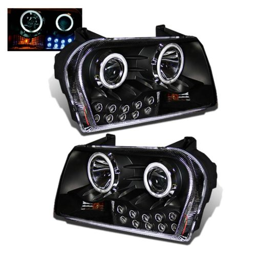 SPPC Projector Headlights L.E.D Black Assembly (CCFL Halo) For Chrysler 300 - (Pair) Includes Driver Left and Passenger Right Replacement ()