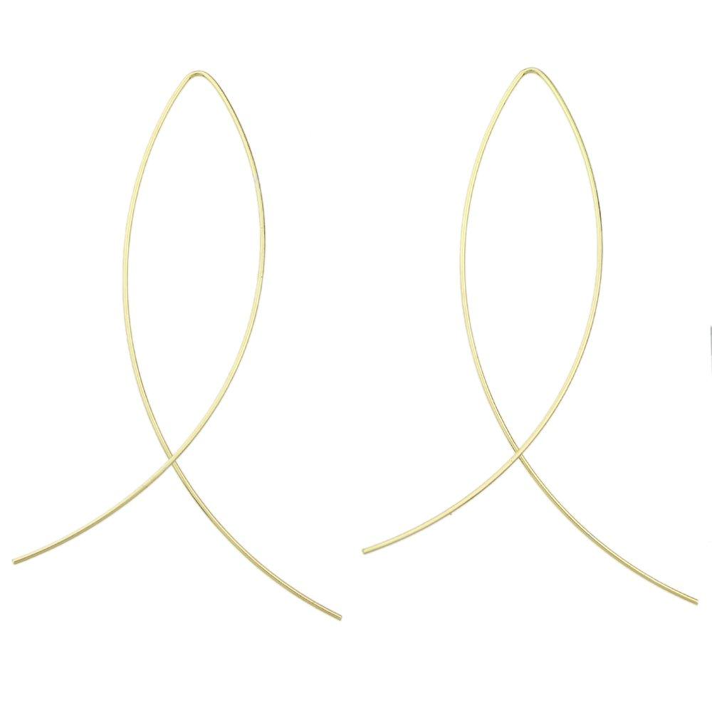 Minimalist Style Black Gold Silver Tone Geometric Shape Long Drop Dangle Earrings For Women Accessories Feelnear