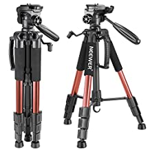 Neewer Portable 56 inches/142 centimeters Aluminum Camera Tripod with 3-Way Swivel Pan Head, Carrying Bag for Canon Nikon Sony DSLR Camera,DV Video Camcorder Load up to 8.8 pounds/4 kilograms(Orange)
