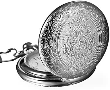 Mudder Vintage Silver Stainless Steel Quartz Pocket Watch Chain