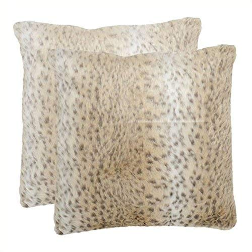 Safavieh Pillows Collection Snow Leopard Decorative Pillow, 18-Inch, Off White, Set of 2