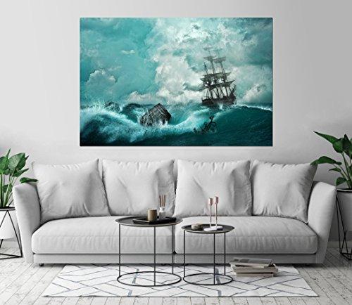 Kraska Sailing Ship in Sea Storm Art Print Wall Decor Image