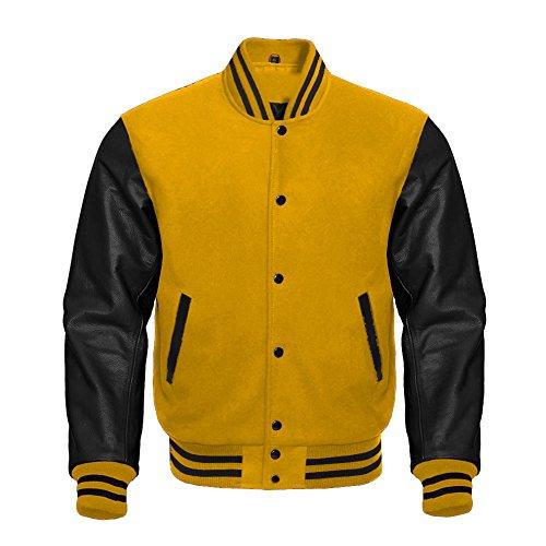 Premium Letterman Baseball School College Bomber Varsity Jacket Wool Yellow & Black Genuine Leather Sleeves (Yellow/Black, Medium)