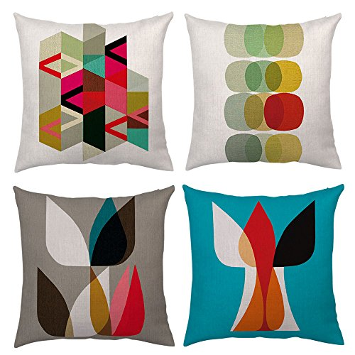 4 Packs Throw Pillow Case Decorative Modern Simple Geometric Pillow Covers PillowCases Cushion Cover Cotton Linen Burlap Square Couch Sofa Home Decor Outdoor 18 X 18 Inch