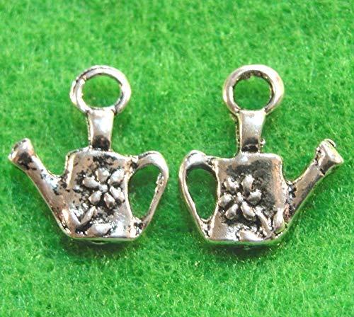 50Pcs. Wholesale Tibetan Silver Flower 3D Watering CAN Teapot Charms Q0833