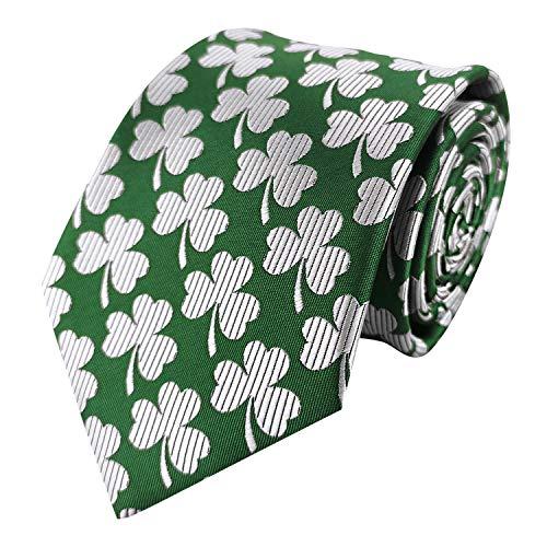 Men's Tie Shamrock Pattern Solid Striped Green Necktie Self Tie for Feast Dress
