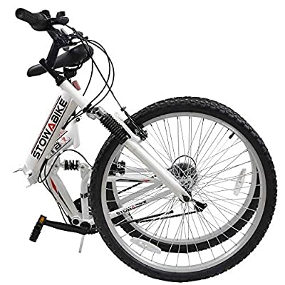 "Stowabike 26"" MTB V2 Folding Dual Suspension 18 Speed Shimano Gears Mountain Bike White (Certified Refurbished)"