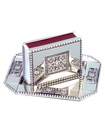 (Judaica Shabbat Holiday Match Box Holder and Tray Engraved Magen David Symbols)