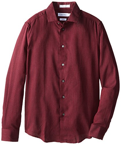 Calvin Klein Big Boys' Long Sleeve Micro Dot Shirt, Burgundy, 08 -