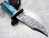 REG 09-810 Handmade Damascus Steel 14.00 Inches Bowie Knife - Stained Bone Handle