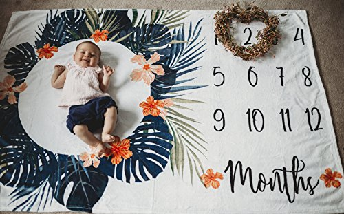 Premium Minky Fleece Monthly Baby Milestone Photo Prop Blanket| Thick Wrinkle & Fade Resistant|Best Baby Shower Gift. Perfect Way to Take Trendy Floral Infant & Newborn Photographs| 60'' X 40'' by Totminds (Image #2)