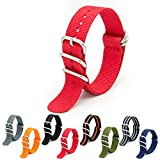 CIVO Heavy Duty G10 Zulu Military Watch Bands NATO Premium Ballistic Nylon Watch Strap 5 White Rings with Stainless Steel Buckle 20mm 22mm 24mm (crimson, 24mm)
