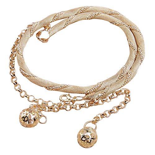 MANDI HOME Womens Fashion Metal Waist Chain Slim Waistband Belt Chain with Hollow Ball Dress/Sweater/Coat Body Chain Wedding Belt