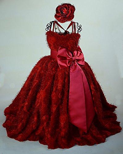 Red Flower Girl Dress/ Diamond Plush Minky Rosette Fabric by MelissaJaneDesigns