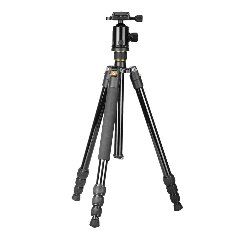 Neewer Portable 64 inches/163 centimeters Aluminum Alloy Camera Tripod Monopod with 360 Degree Ball Head, 1/4-inch Quick Shoe Plate and Bubble Level, Load Capacity 22 pounds/10 kilograms (Golden)