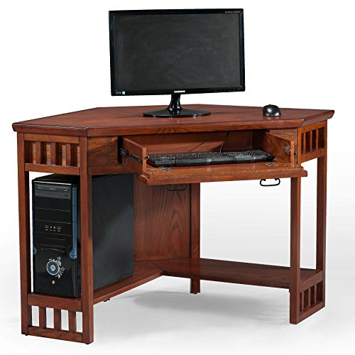 Leick Corner Computer And Writing Desk Mission Oak Finish