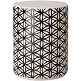 Emissary Home & Garden Flower of Life Stool Black/White