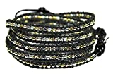Beautiful Silvertone, Goldtone, Gray Nugget Bead Leather Wrap Bracelet, 5 Times Wrap