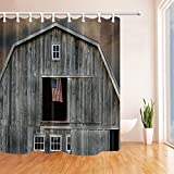 NYMB Wooden Farm House Decor, American Flag on the Window Shower Curtains, Polyester Fabric Waterproof Bath Curtain, 69X70 in, Shower Curtain Hooks Included, Grey(Multi12)