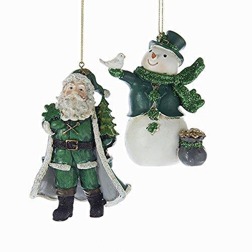 Resin Irish Snowman And Santa Ornament Set OF 2