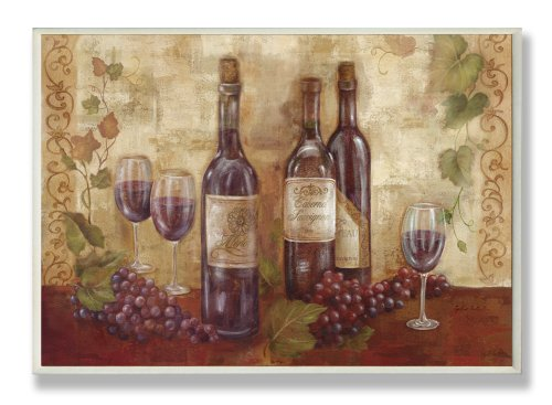 Stupell Home Décor Bottles Glasses And Grapes Kitchen Wall Plaque, 10 x 0.5 x 15, Proudly Made in USA