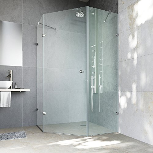 "Shower Angle Neo Glass (VIGO VG6061CHCL42 Verona 42"" x 42"" inch Clear Glass Corner Frameless Neo-Angle Shower Enclosure, Hinged Shower Door with Magnalock Technology, 304 Stainless-Steel Shower Hardware in Chrome Finish)"