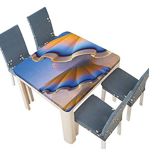 PINAFORE Polyester Tablecloth Fantastic Gradient Shell Figures in Digital Textured Tones Sci Fi Design Blue Merigold Spillproof Tablecloth 57 x 57 INCH (Elastic Edge) -
