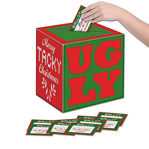 Ugly Christmas Sweater Contest Ideas (Beistle Ugly Christmas Sweater Party Contest Ballot Box with 10 Ballots, One Size,)
