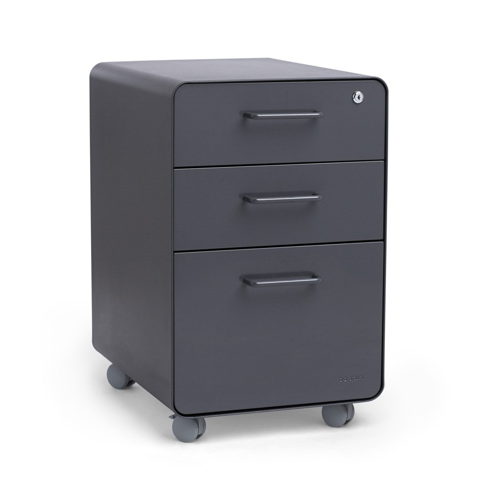 Poppin Charcoal Stow Rolling 3-Drawer File Cabinet, Available in 10 Colors, Legal/Letter