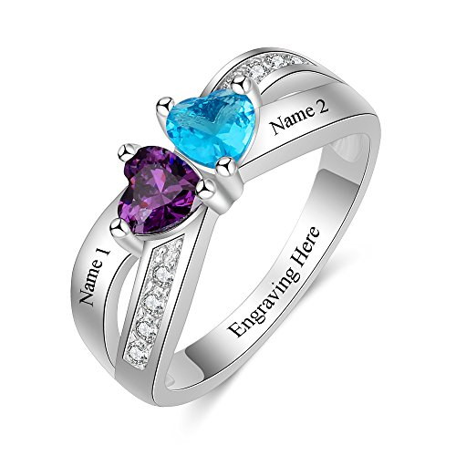 Love Jewelry Personalized 2 Simulated Birthstone Rings for Women Mothers Ring with Names Custom Promise Rings for Women (7) (With Love Ring Stone)