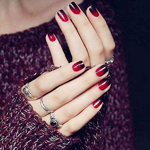 Black Fake Nails (Yean Set of 24 Bridal False Nails Black Red Gradual Change Color Nail Vintage Short Fake Nail Tips Nail strips with Glue and Adhesive Tab for women and girls)