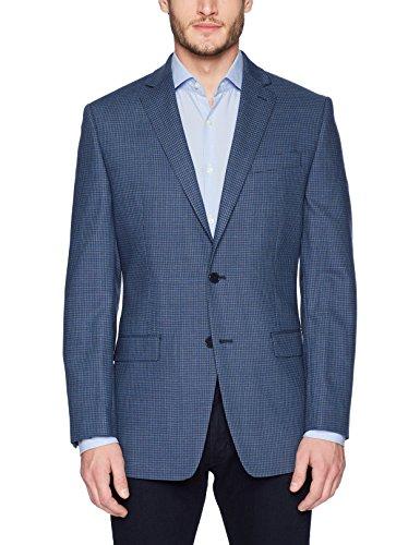 Calvin Klein Men's Malik Slim Fit Single Breast 2 Button Blazer, Navy Mini Grid Pattern, 42 (Pattern Mini Button)