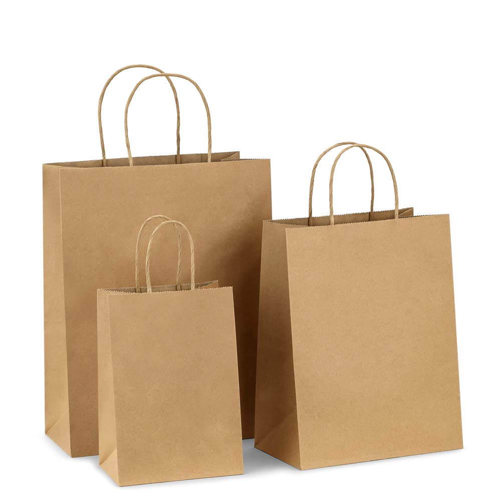 BagDream Kraft Paper Bags 5x3x8& 8x4.25x10& 10x5x13 25 Pcs Each, Gift Bags, Kraft Bags,Shopping Bags with Handles, Paper Shopping Bags, Craft Bags, Merchandise Bags, 100% Recyclable Paper by BagDream