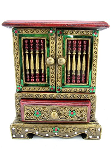 Blue Orchid Thai Handmade Decorative Wood Jewelry Cabinet Ornate Jeweled Trinket Boxes Hinged 10'' (Emerald) by Blue Orchid