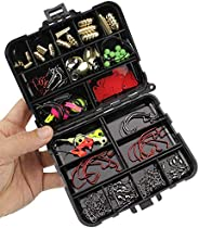 Oak-Pine 128Pcs/Set Fishing Accessories Set Carp Catfish Freshwater Saltwater Fishing Tackle Box - Hooks, Swiv