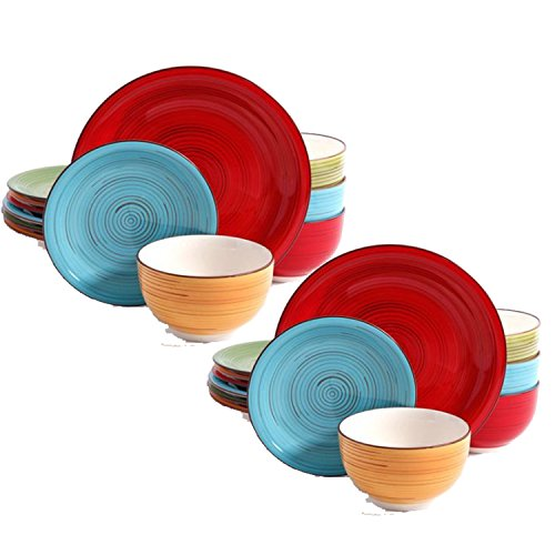 (Better Homes and Gardens Festival 12-Piece Dinnerware Set, Assorted, Dishwasher Safe, 2-Pack)