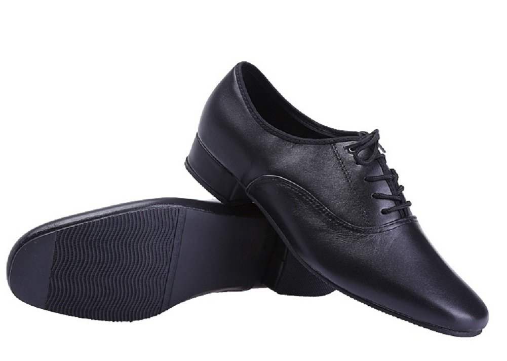 BeiBestCoat Black Modern Outdoor Dancing Shoes Lace-up Leather Soft Sole Dancing Shoes For Men (10 D(M)/44)