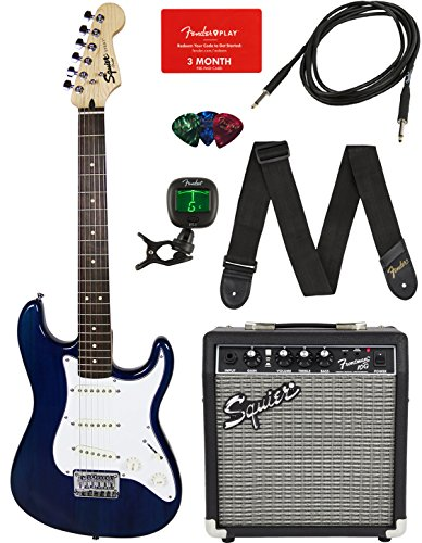 Squier by Fender Short Scale Stratocaster – Transparent Blue Bundle with Frontman 10G Amp, Cable, Tuner, Strap, Picks, Fender Play Online Lessons, and Austin Bazaar Instructional DVD